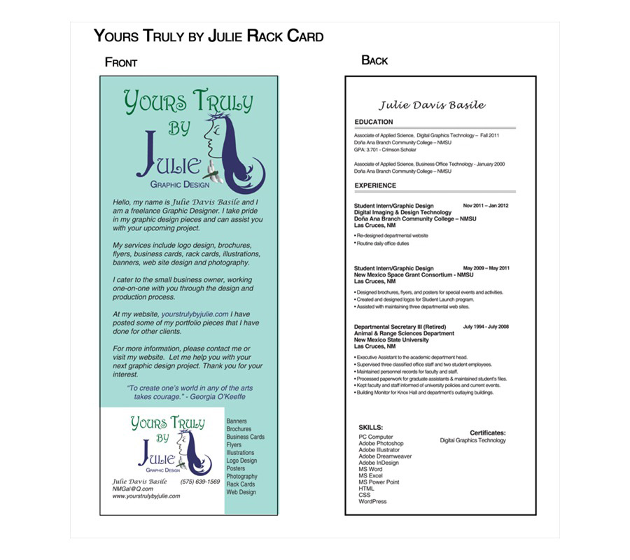 Yours Truly by Julie Graphic Design Rack Card
